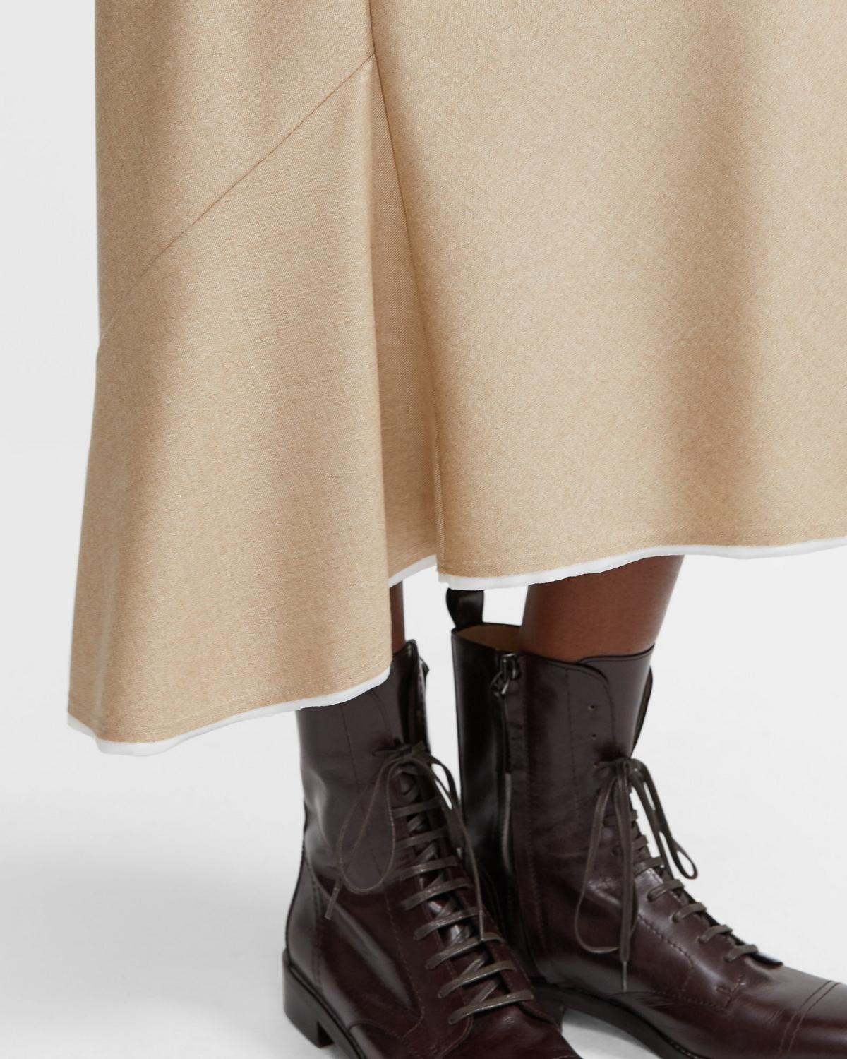 Bias Seamed Skirt in Sleek Flannel