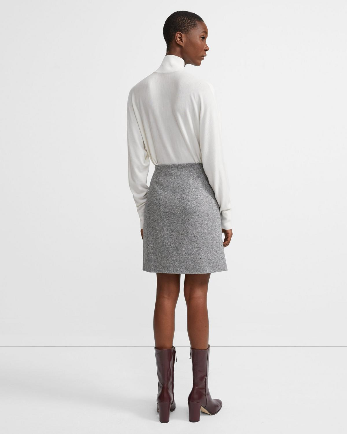 Easy Waist Skirt in Speckled Wool