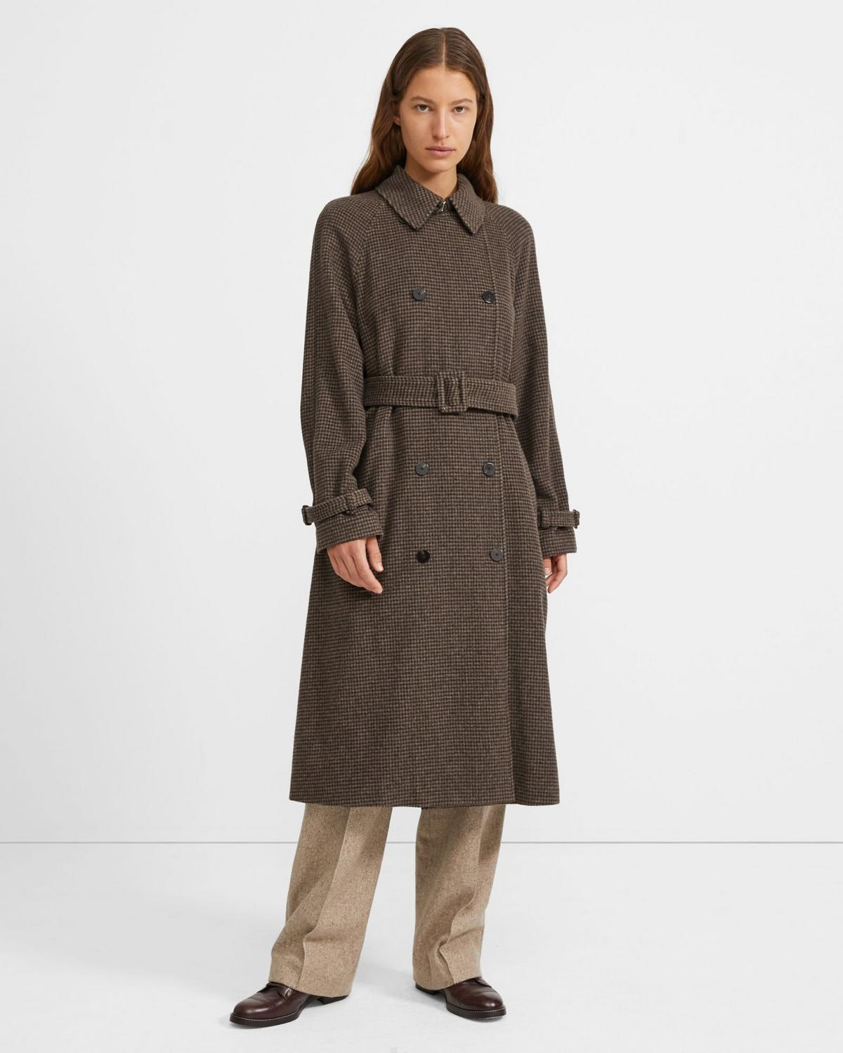 Houndstooth Flannel Classic Trench Coat