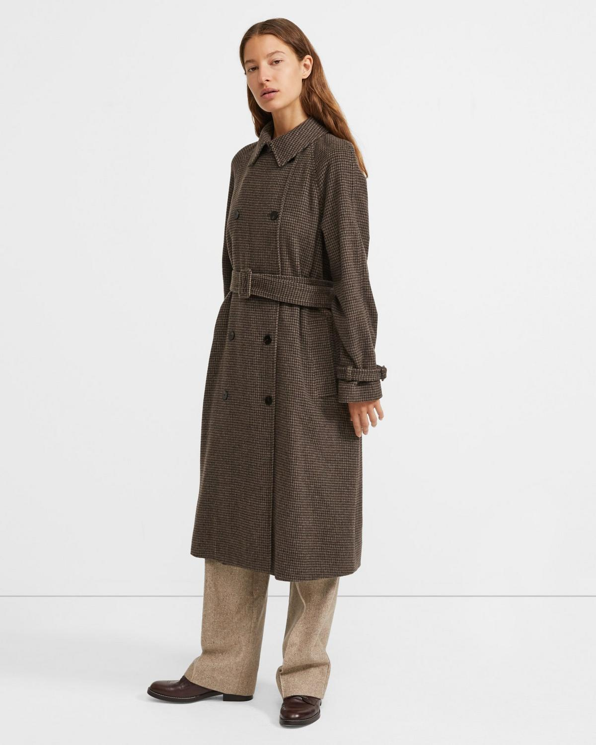 Classic Trench Coat in Houndstooth Flannel