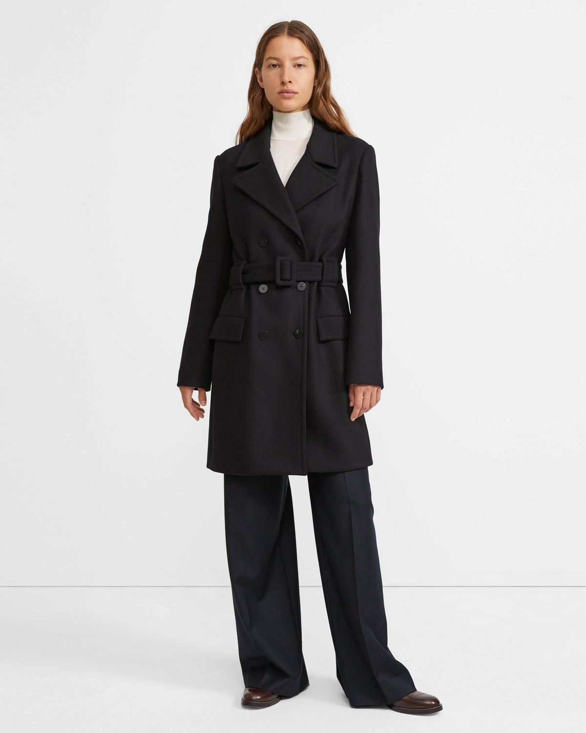 Long Peacoat in Stretch Wool Melton