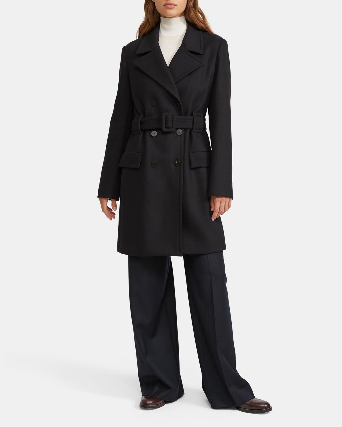 Stretch Wool Melton Long Pea Coat