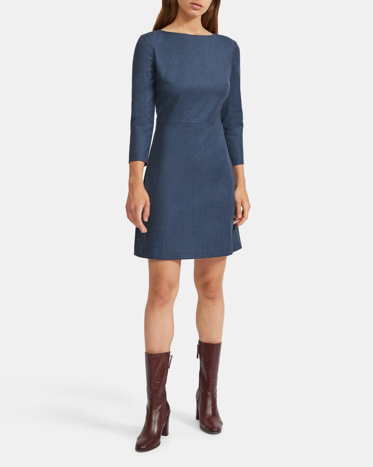 Sleek Flannel Seamed-Waist Dress