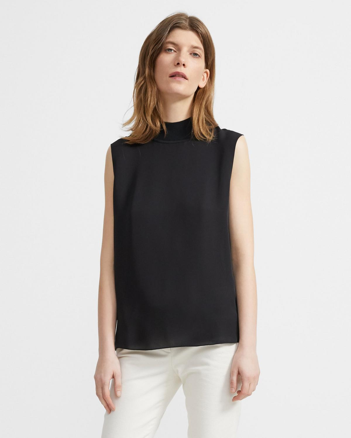 Ribbed Neck Shell Top in Silk Combo