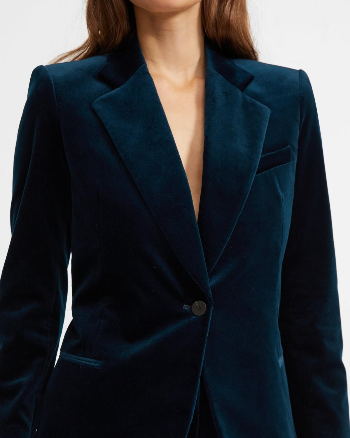 Stretch Velvet Cinched Blazer