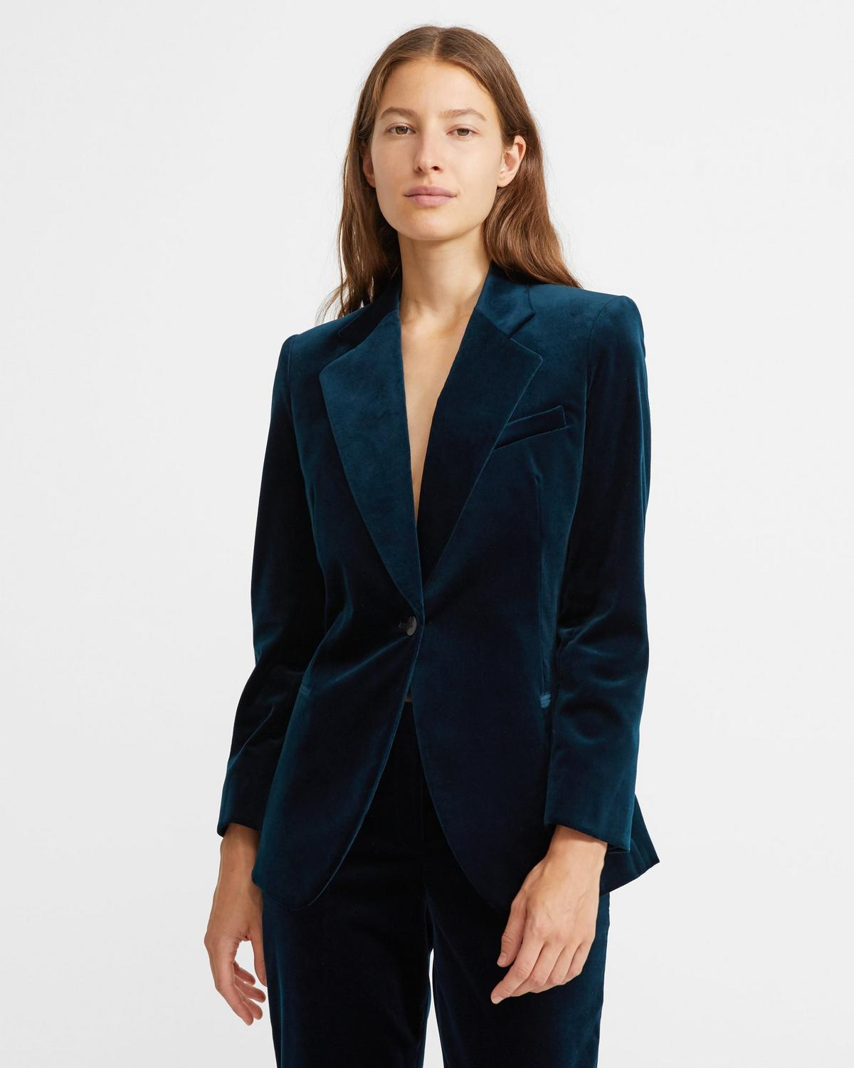 Cinched Blazer in Stretch Velvet