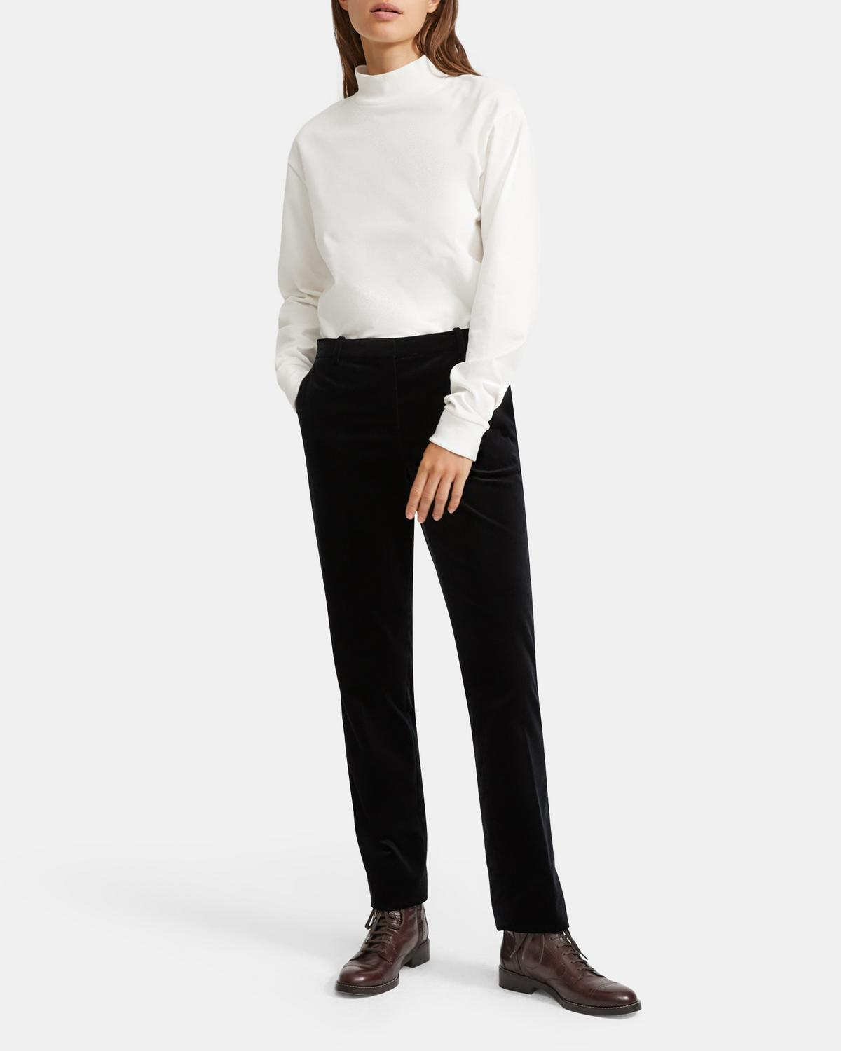Treeca Full Length Pant in Stretch Velvet