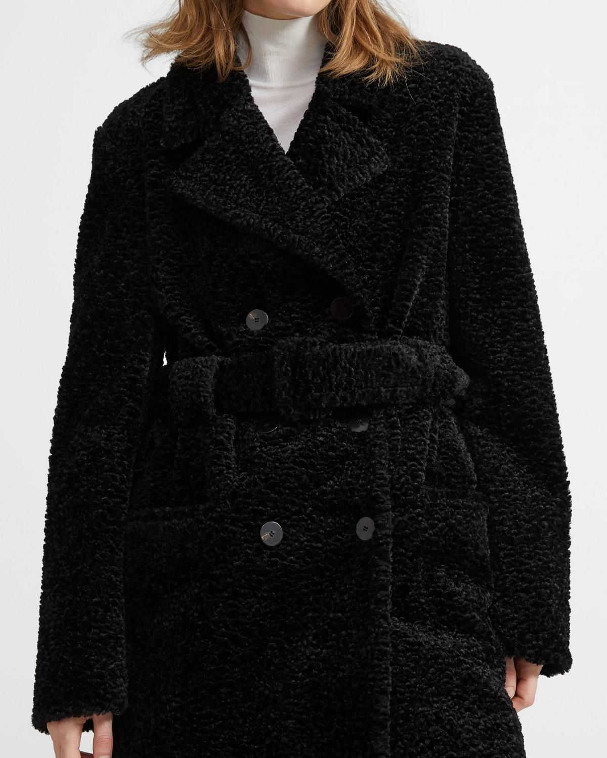 Embosssed Faux Pea Coat