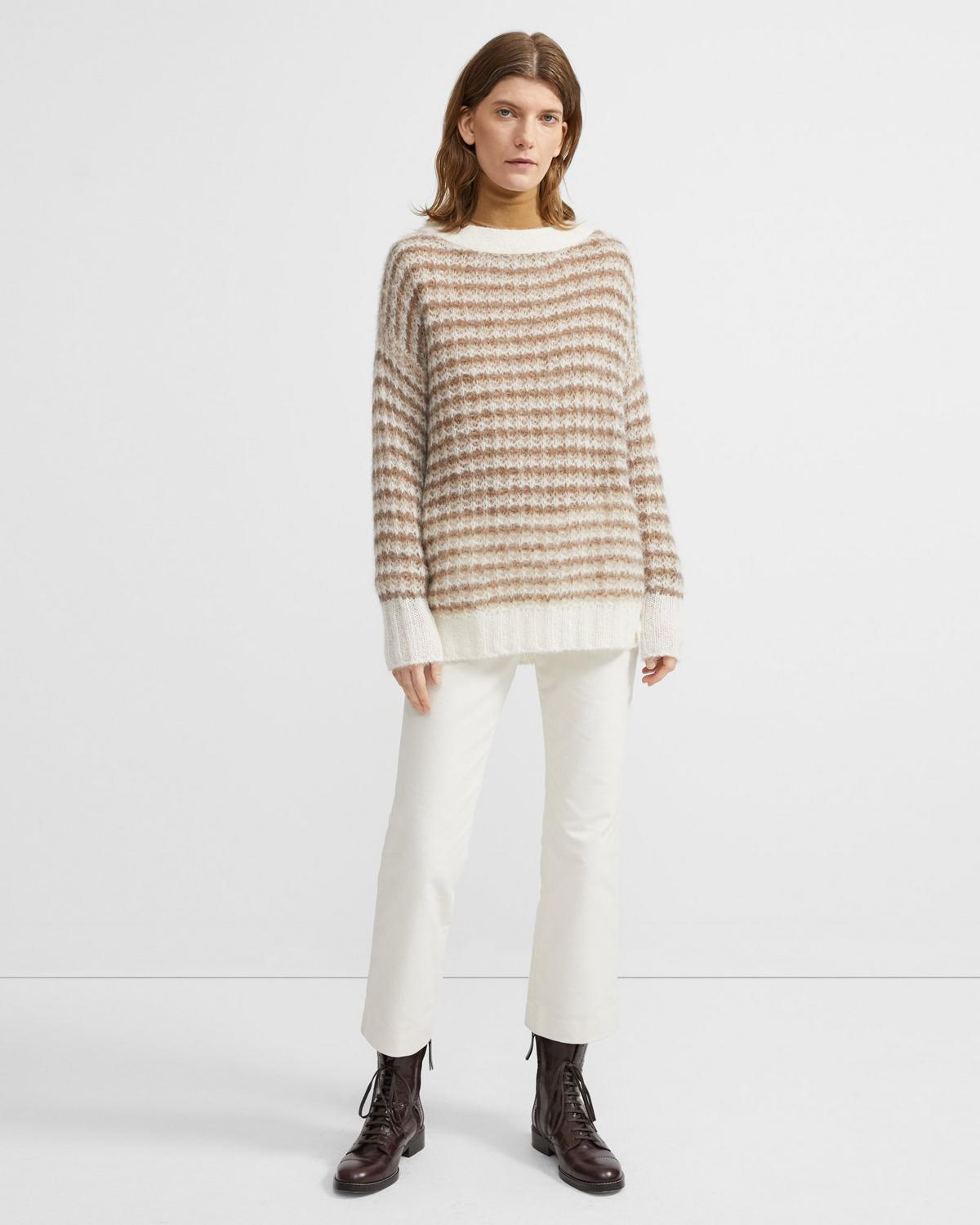 Sweater in Striped Alpaca Wool