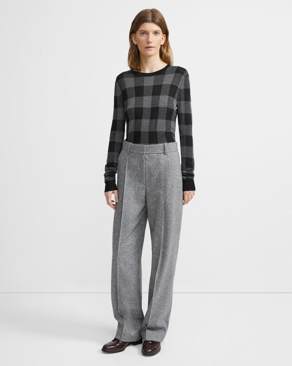 Crewneck Sweater in Plaid Silk-Cashmere 0 - click to view larger image