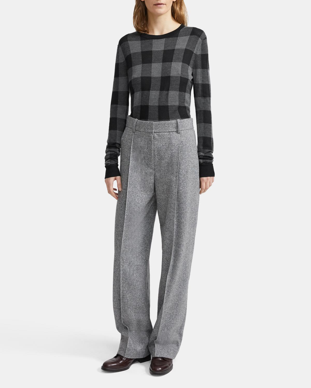 Crewneck Sweater in Plaid Silk-Cashmere