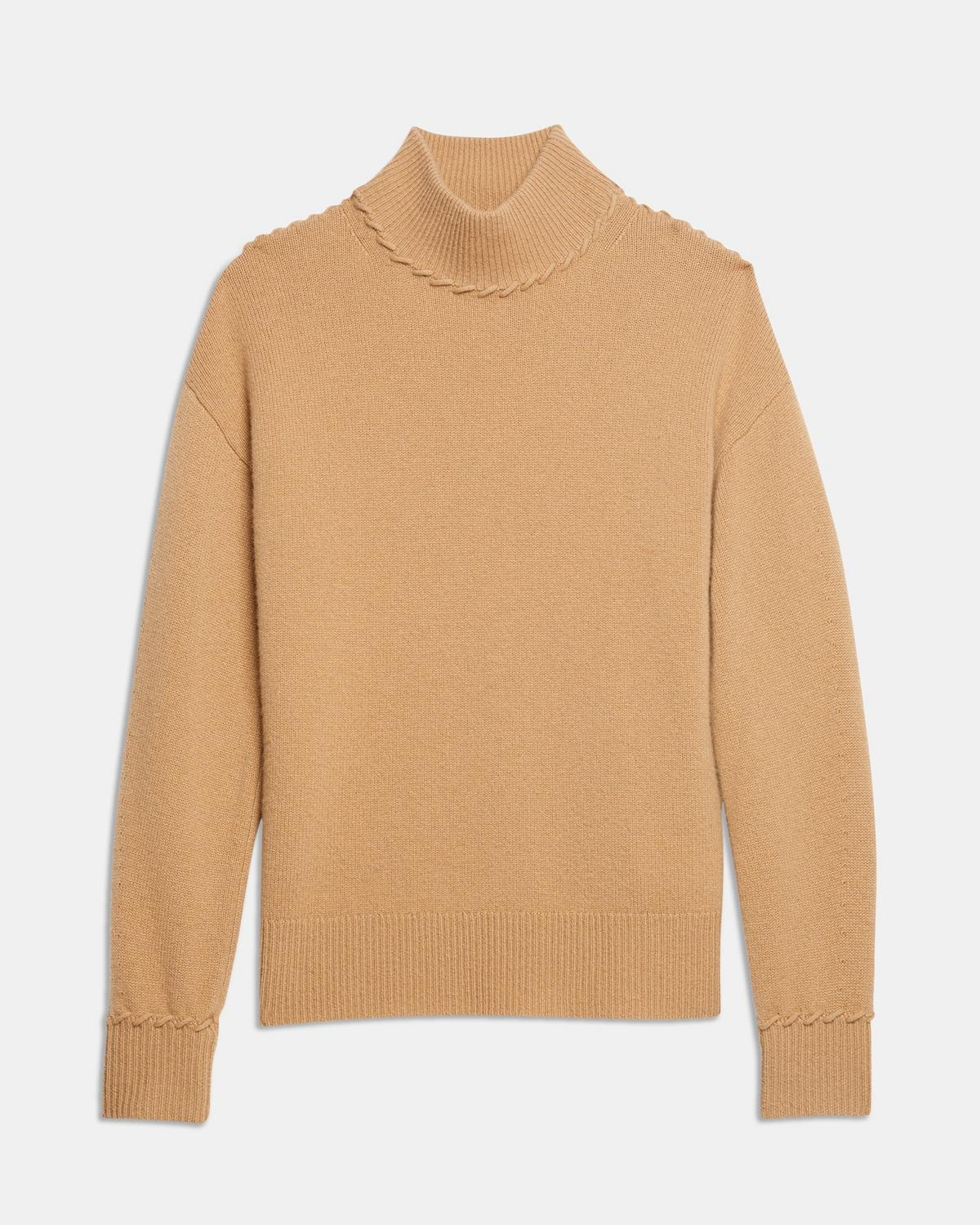 Whipstitch Turtleneck Sweater in Cashmere