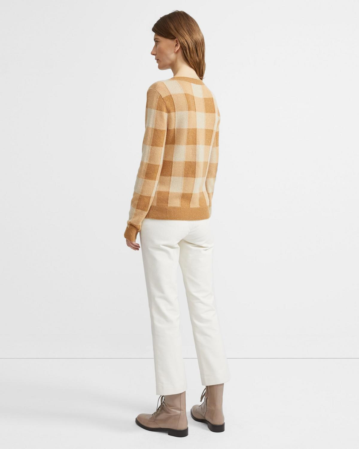 Crewneck Sweater in Plaid Cashmere