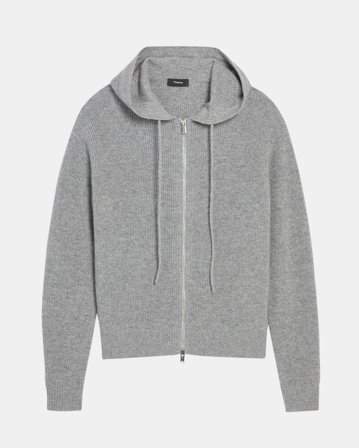 Zip Hoodie in Ribbed Cashmere