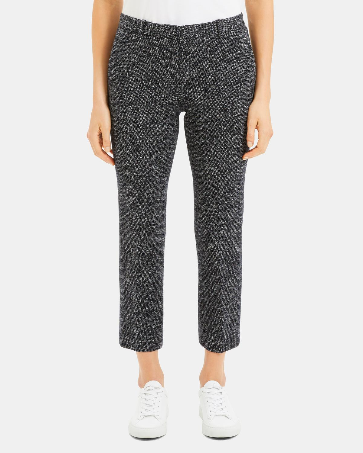 Speckled Knit Cropped Tailored Trouser