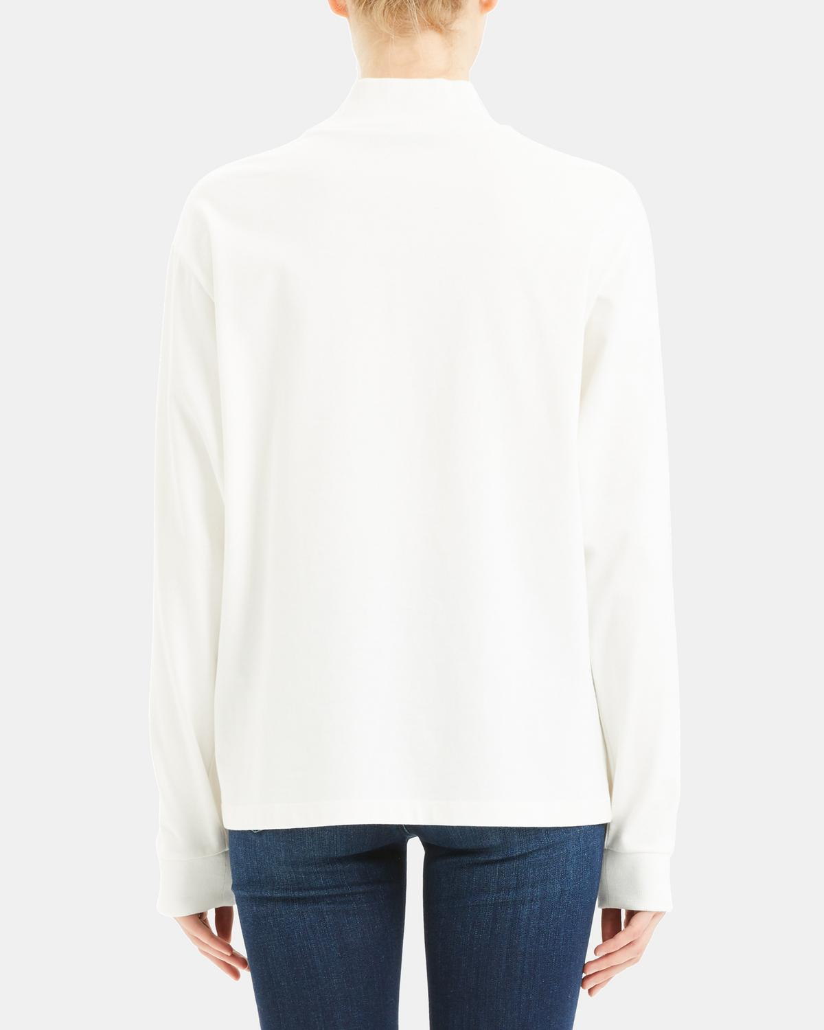 Cotton Jersey Mock Neck Top