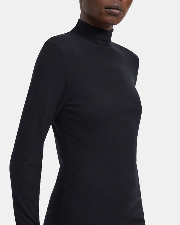 띠어리 터틀넥 티셔츠 Theory Ribbed Viscose Turtleneck,BLACK