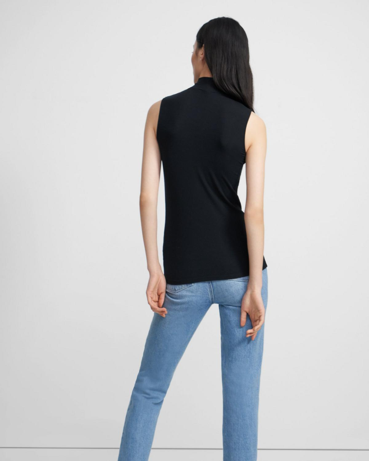 Sleeveless Turtleneck in Ribbed Viscose