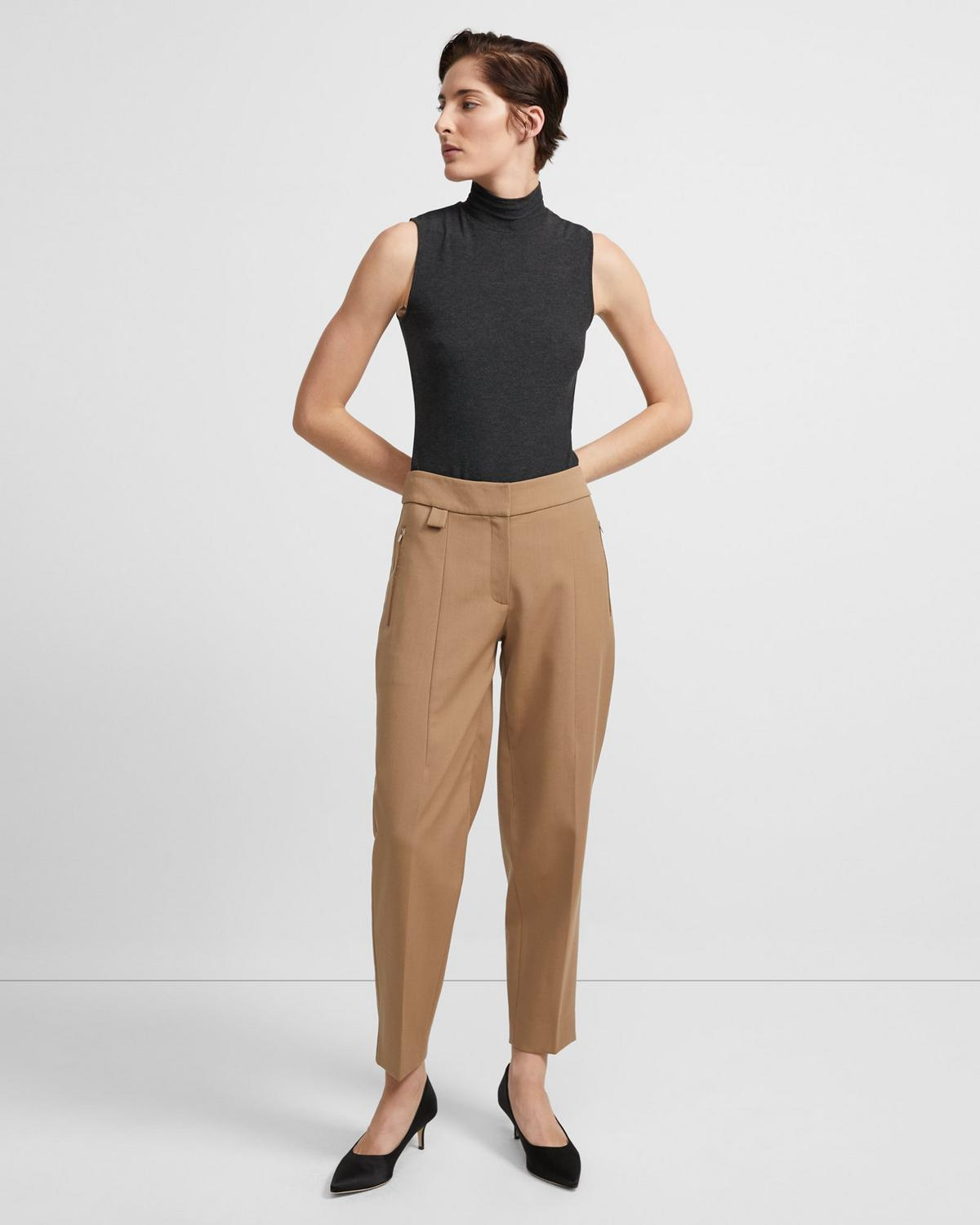 Melange Sleeveless Turtleneck
