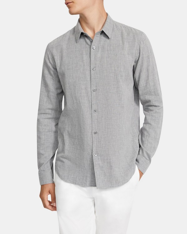 Long-Sleeve Shirt in Grid Cotton