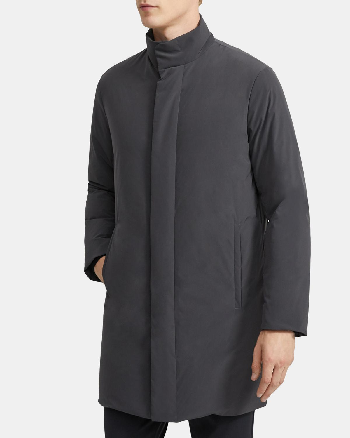 Stand Collar Down Coat in Paper Nylon