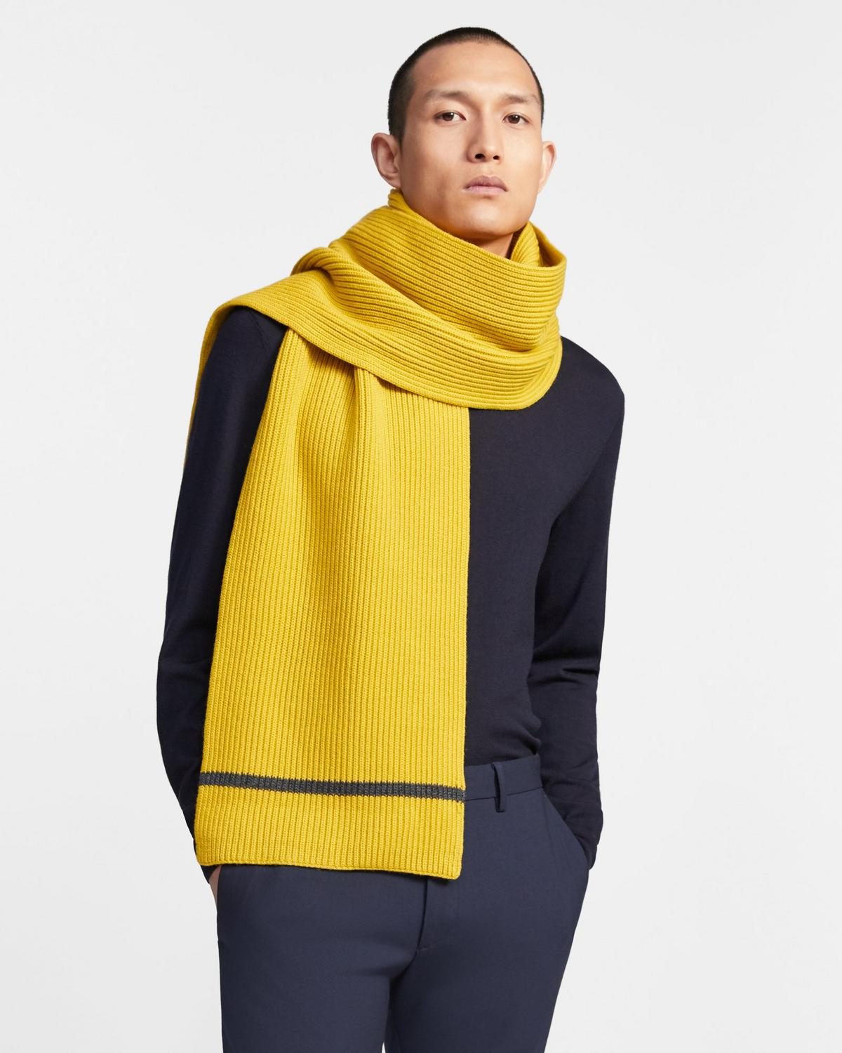 Tipped Scarf in Merino Wool
