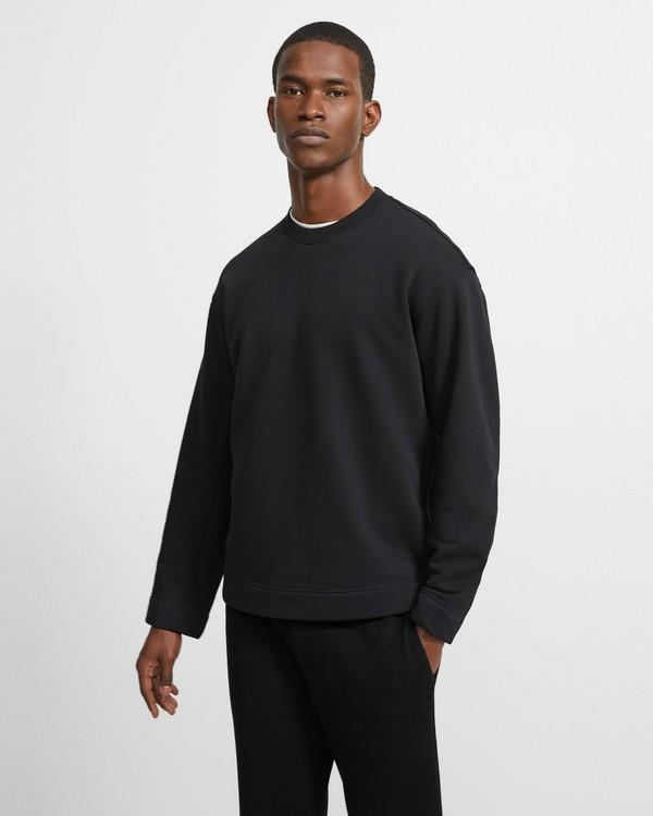 띠어리 맨 맨투맨 Theory Cotton Fleece Box Sweatshirt,BLACK