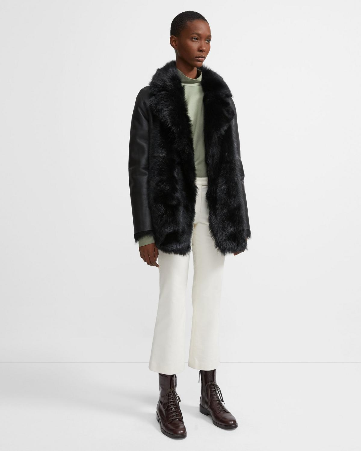 Reversible Shearling Overlay Coat