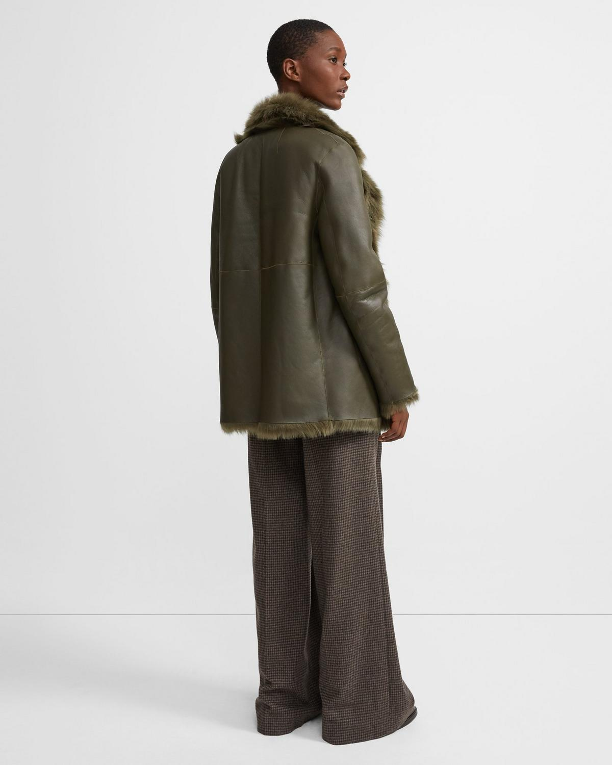 Overlay Reversible Coat in Shearling