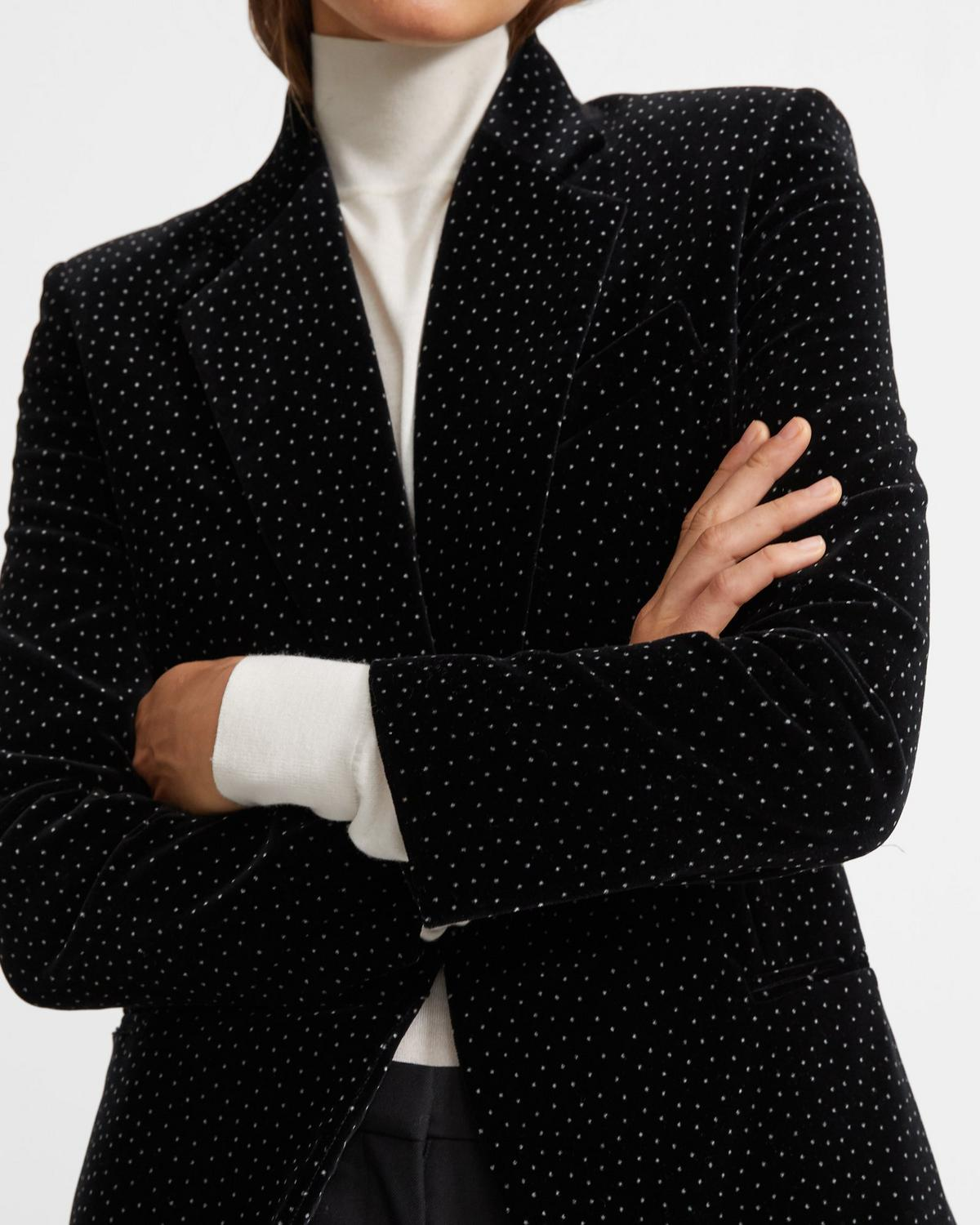 Cinched Blazer in Dotted Velvet