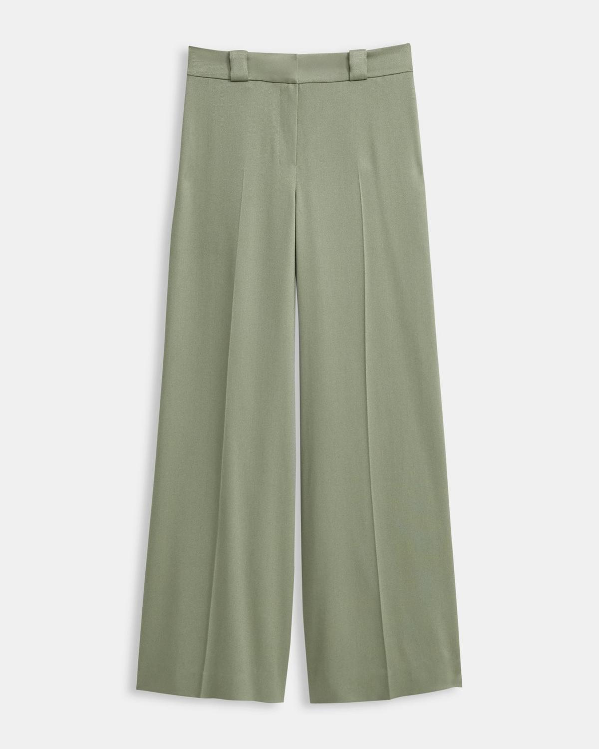 Draped Twill Fluid Wide Pant