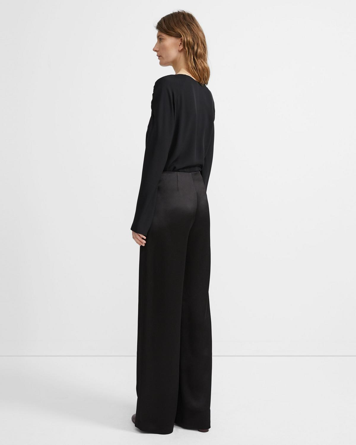 Clean Wide Leg Pant in Crepe Satin