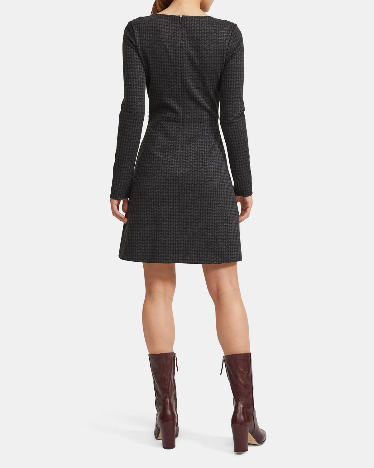 Houndstooth Knit Seamed-Waist Dress