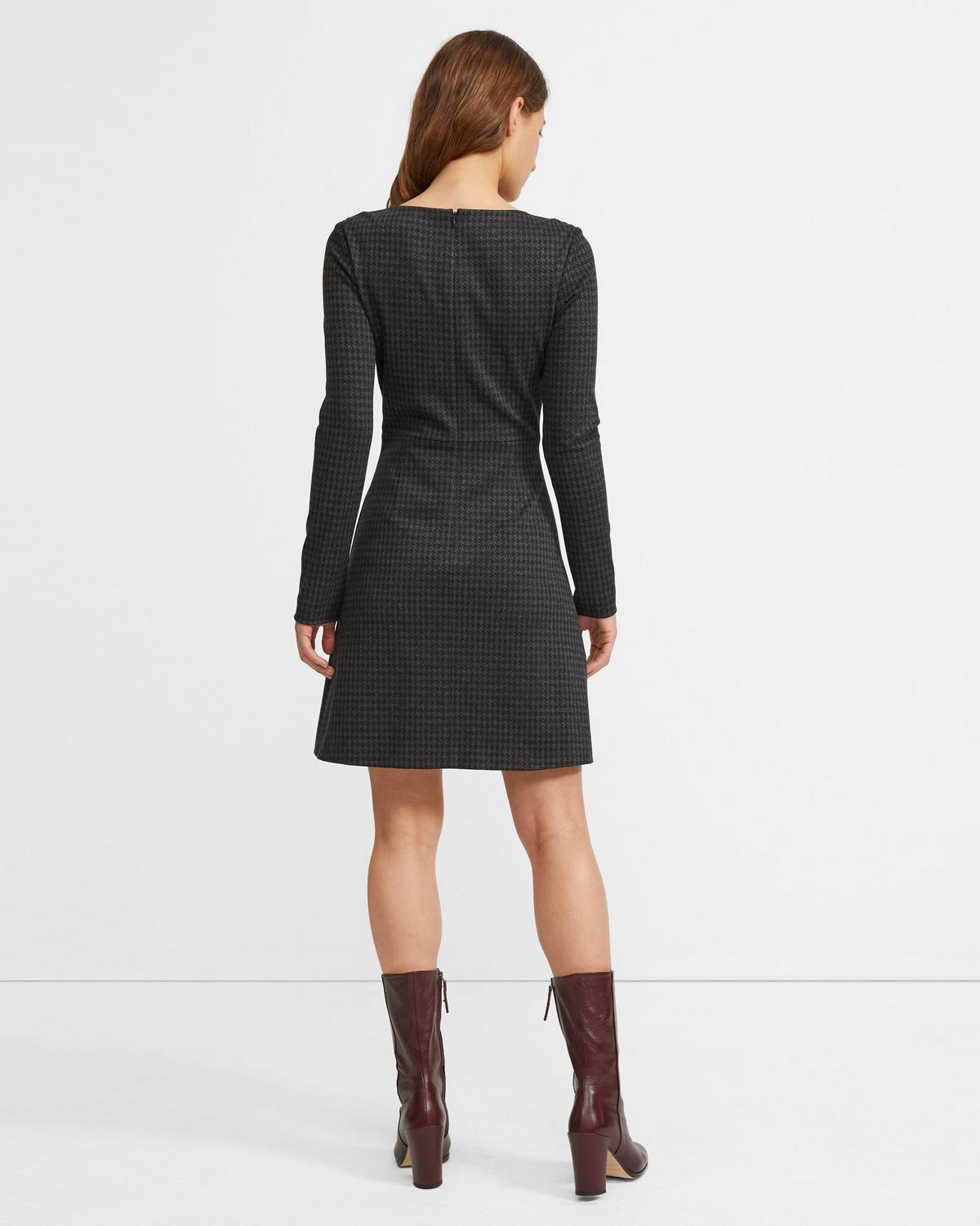 Seamed Waist Dress in Houndstooth Twill