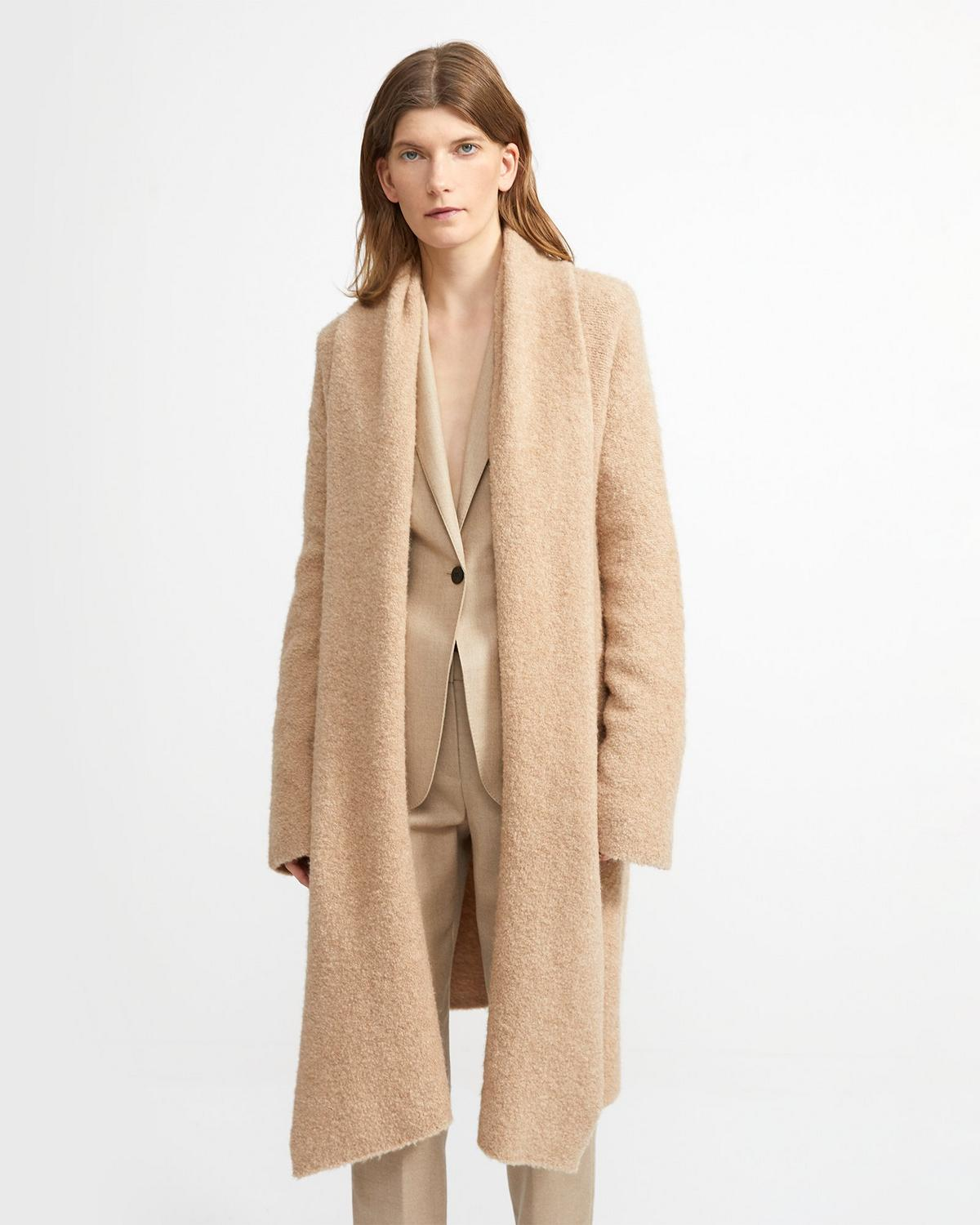 Draped Cardigan in Camel Boucle
