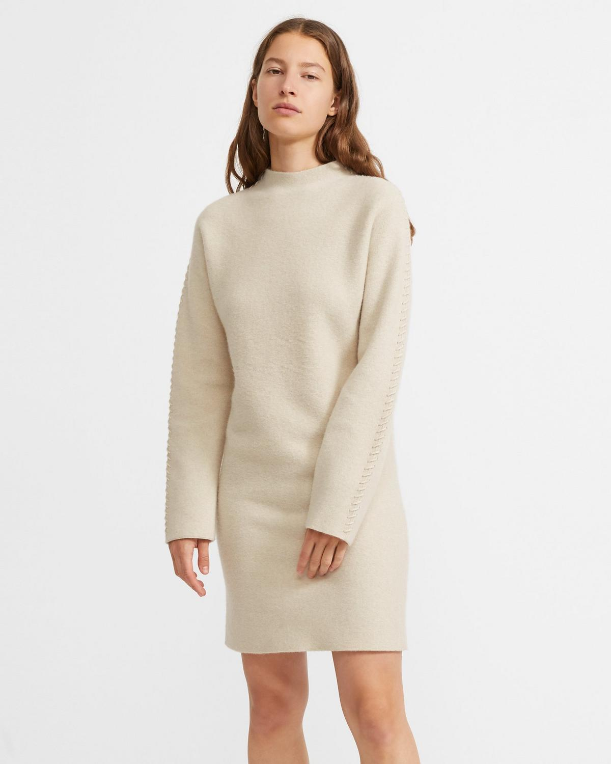 Kimono Turtleneck Dress in Felted Wool-Cashmere
