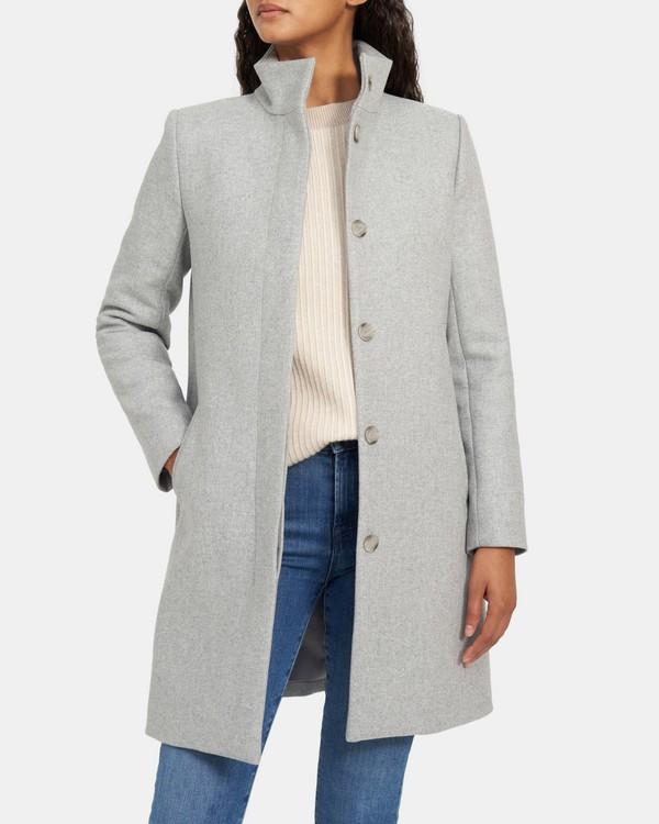 띠어리 레이티 코트, 울 캐시미어 - 라이트 그레이 헤더 Theory Layti Coat in Wool-Cashmere
