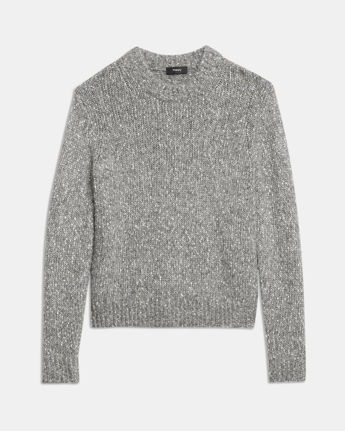 Crewneck Sweater in Alpaca Wool Tweed