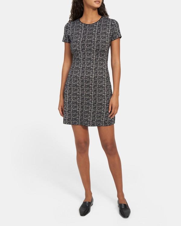 띠어리 원피스 Theory Cap-Sleeve Flare Dress in Merino Wool,BLACK/WHITE