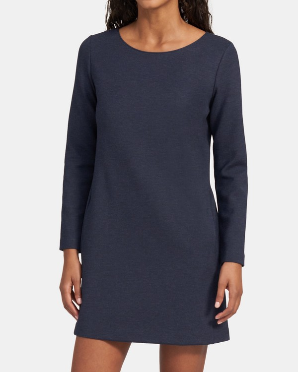 띠어리 원피스 Theory Boatneck Dress in Double Knit Jersey,NAVY MELANGE
