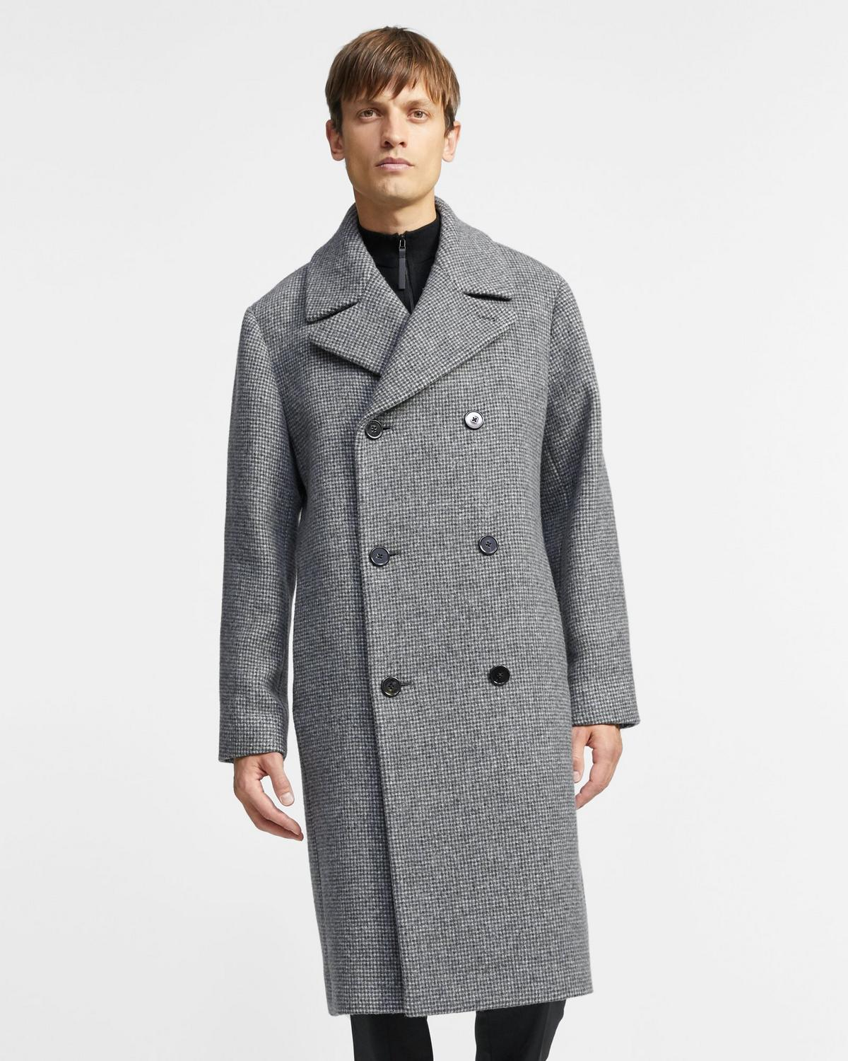 Wool Tweed Double-Breasted Coat
