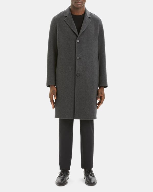 띠어리 맨 코트 Theory Suffolk Coat in Double-Face Cashmere,GREY MELANGE/BLACK