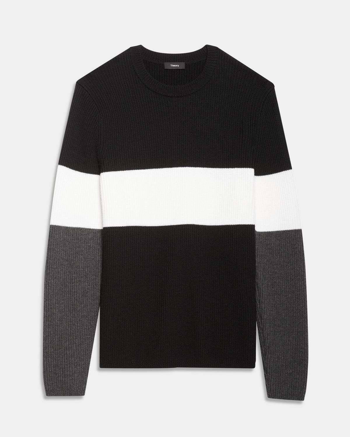 Crewneck Sweater in Color Block Merino Wool