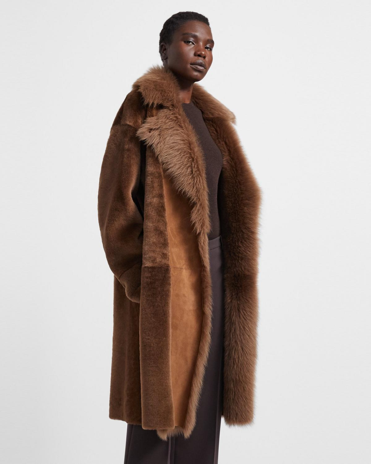 Coat in Textured Shearling
