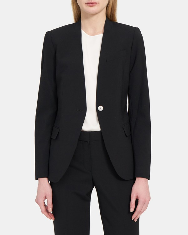 Staple Collarless Blazer in Wool