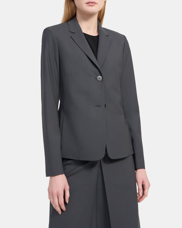 Pleated Blazer in Stretch Wool