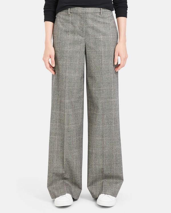 띠어리 플란넬 와이드 팬츠 Theory Wales Flannel Wide Trouser,BLACK MULTI