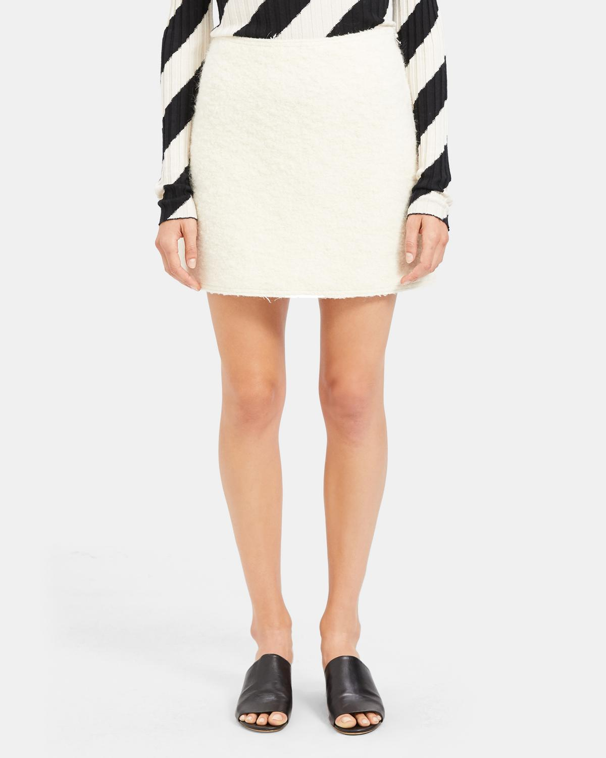 A-Line Mini Skirt in Wool Boucle