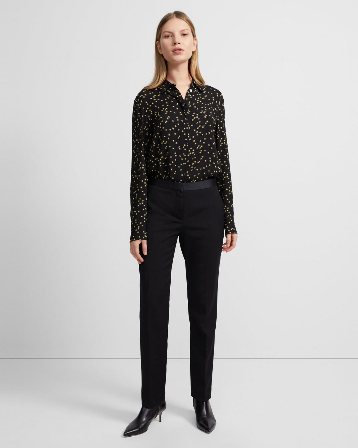 Straight Shirt in Star Print Silk