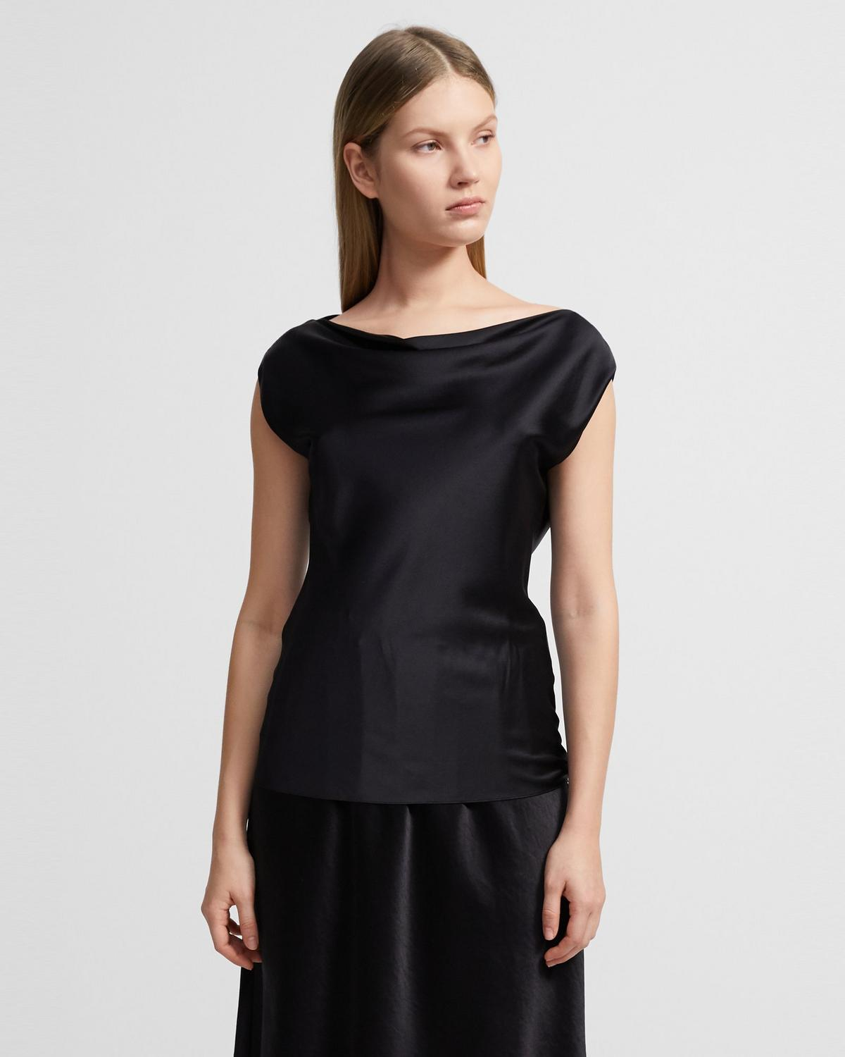 Draped Boatneck Top in Stretch Satin